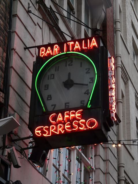 The neon clock of Bar Italia in Soho