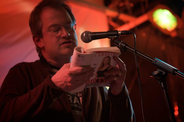 Robin Ince fires up during an Ann Coulter reading Natalie Ujuk