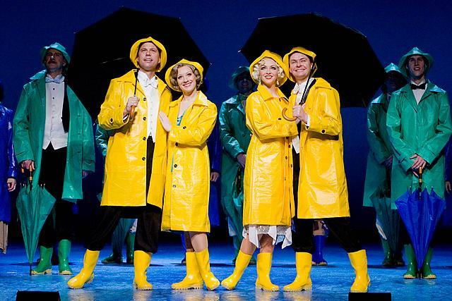 Tim Flavin, Jessica Punch, Amy Griffiths and Graeme Henderson star in Singin' In The Rain at the New Wimbledon Theatre