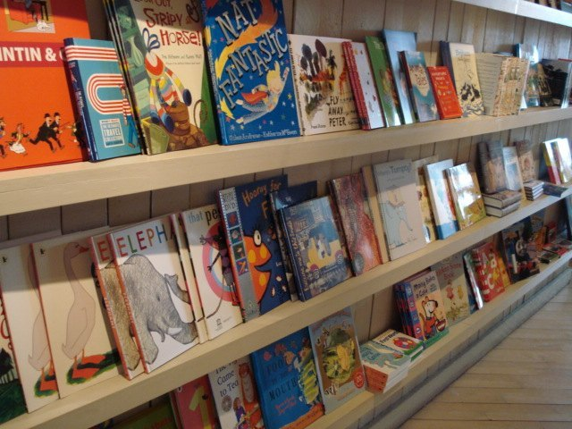 The children's section, on low enough shelves for little arms to reach