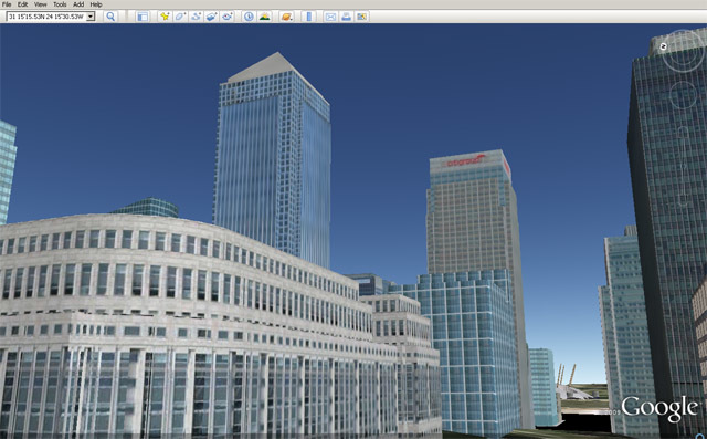 Most of the buildings in Canary Wharf have been recreated by Jake Martin.