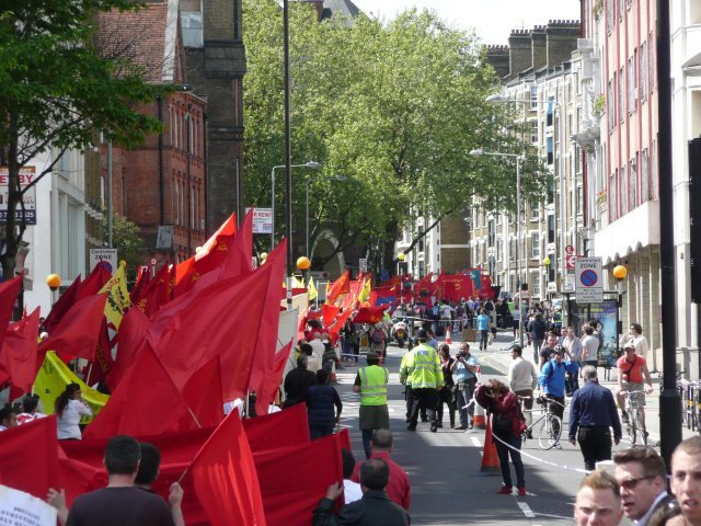 Marching along Clerkenwell Road towards the West End. Photo by Dave.