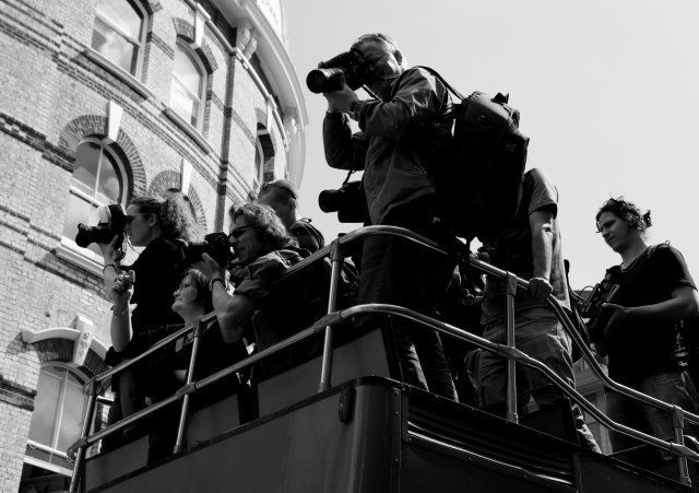 The photographers' bus at the front of the march. Photo by Daniel_C_C via the Londonist Flickr Pool.