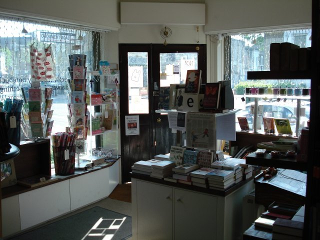 Inside the Review Bookshop, with some of the books and gifts on offer