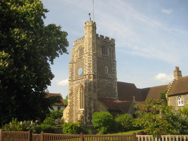 The Medieval church of St Mary the Virgin in Monken Hadley. Not the beacon atop the tower.