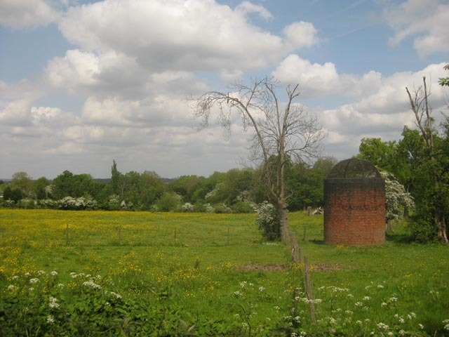 The shafts from the Elstree Tunnel, on the Thameslink line, are clearly visible in this field.
