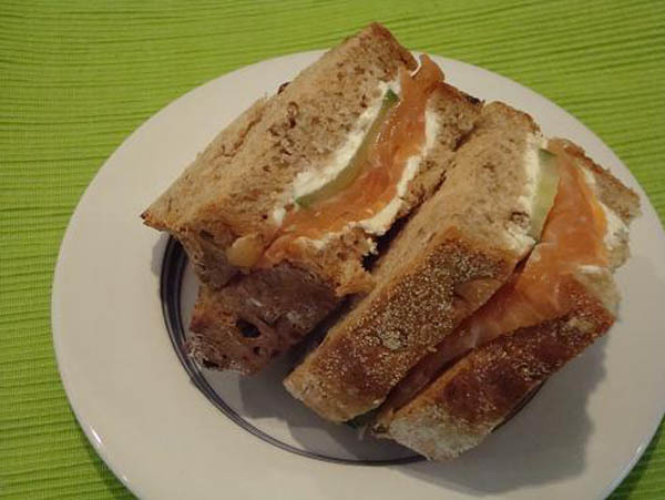 Smoked salmon and creme cheese sandwich courtesy of Dinner Diaries