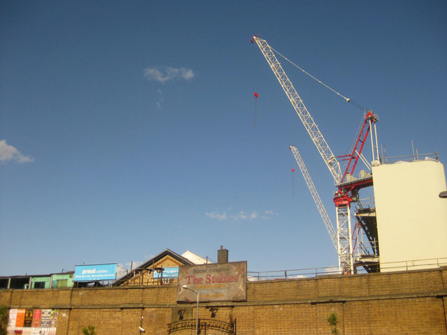 Cranes still tower over the market site.