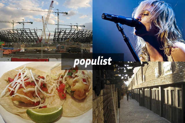 Clockwise from top right: 2012 Olympics stadium, Metric, Camden Stables market, fish tacos