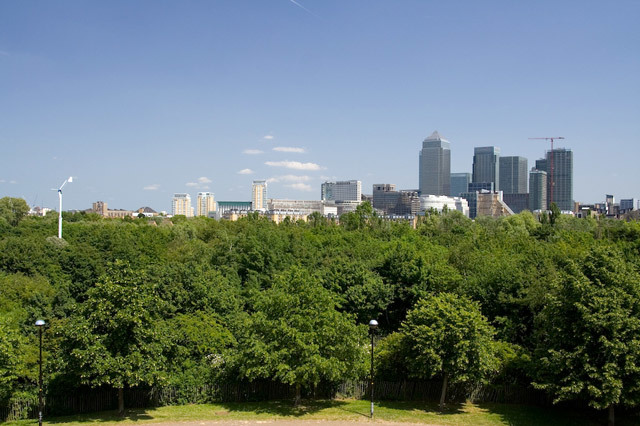 View of Ecological Park and Canary Wharf from Stave Hill