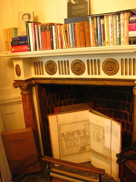Books in the fireplace...