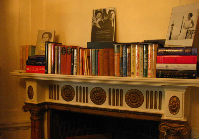 ...books on the fireplace