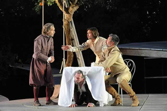 """Classic """"overheard"""" comedy in Much Ado About Nothing at Regent's Park Open Air Theatre. Photo by Alistair Muir"""