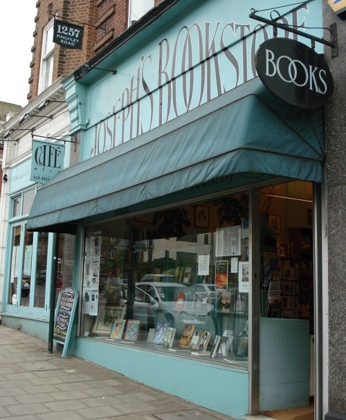 Outside Joseph's Bookstore on a grey, moisty day