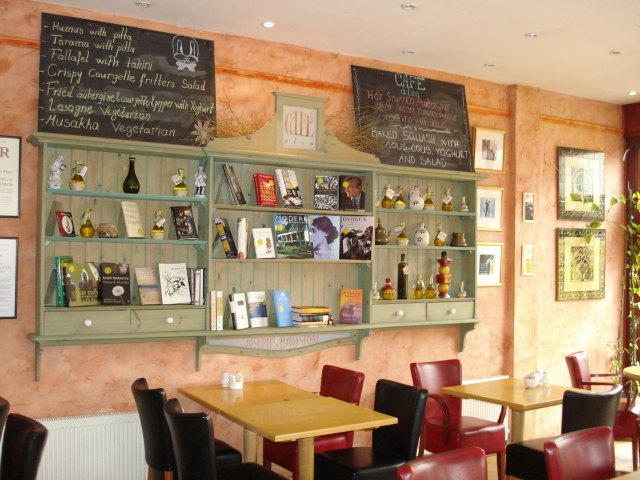 Inside Cafe Also, with its mediterranean menu