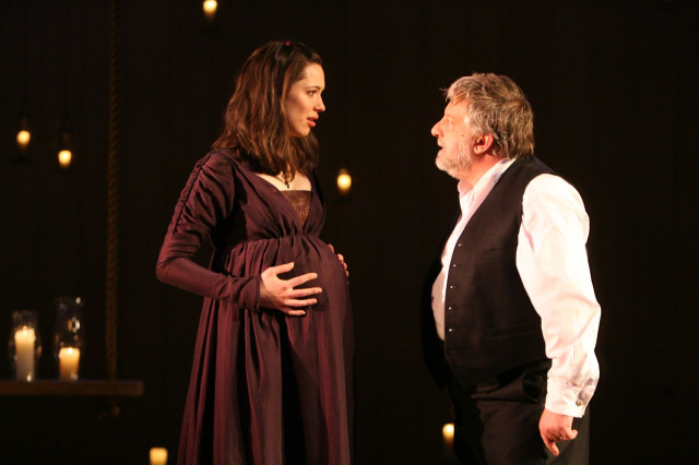 Leontes (Simon Russell Beale) accuses his innocent wife (Rebecca Hall)