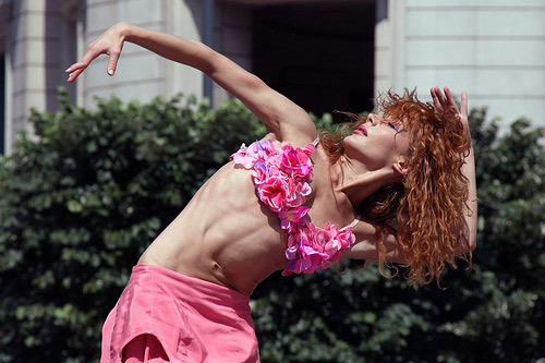 Dancer from Compagnie Gianni Joseph dances in their production Ladies Men in Cabot Square - part of Dancing City by MykReeve