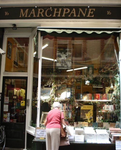 Marchpane: browsing the Winnie the Pooh prints outside the shop