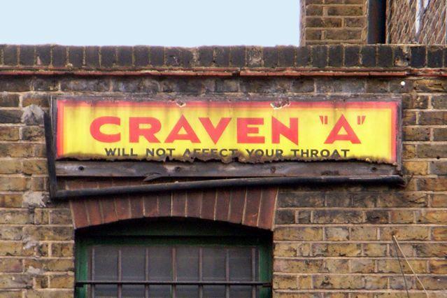 "Craven ""A� metal sign, Camden Road, NW1"