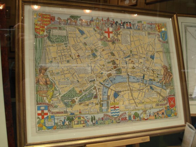 Tim Bryars: a version of an old children's map of London, complete with nursery rhymes