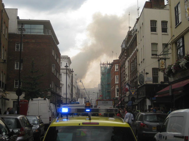The fire caused traffic chaos with much of eastern Soho cordoned off. Oxford Street was closed to westbound traffic.