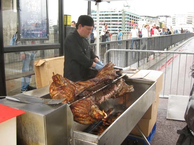 Hog roast at the Southwark side.