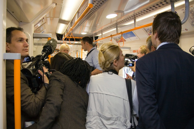 The press pack gamefully recreate the crush of the 08.12 from Dalston Kingsland