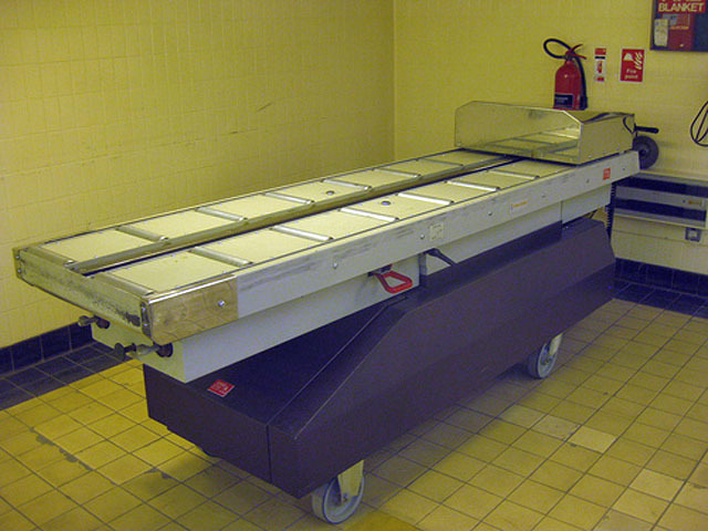 The gurney used to transport coffins from the chapel room to the cremator.