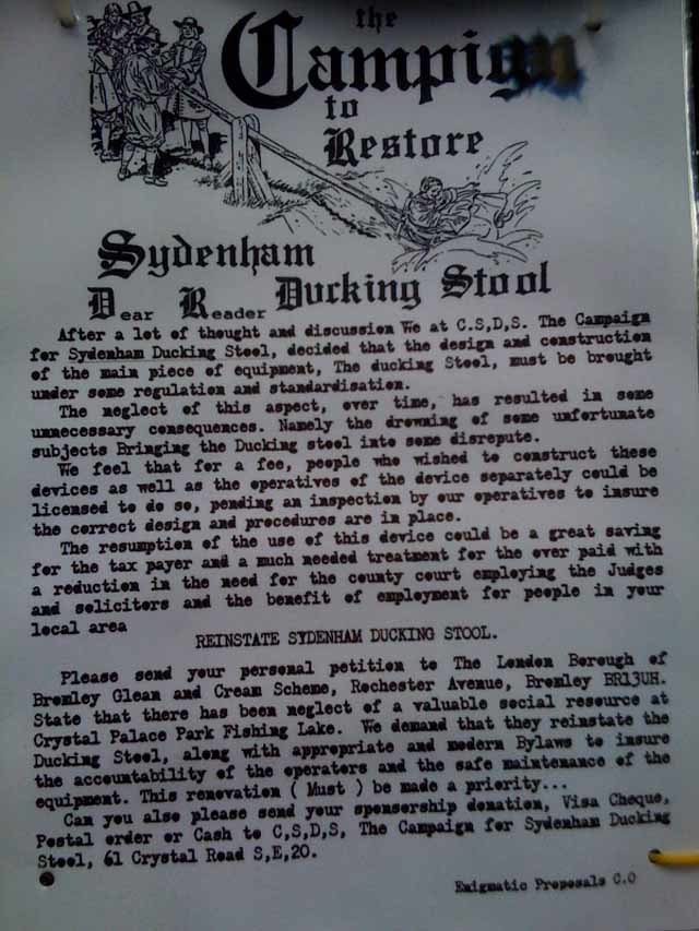 Campaign To Restore Sydenham Ducking Stool