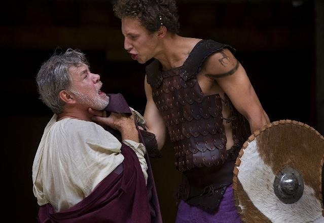 He might be a young 'un, but he can still get angry. Troilus (Paul Stoker) loses it with Pandarus (Matthew Kelly).  Photo by John Tramper
