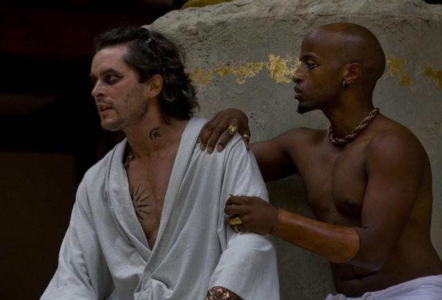 Achilles (Trystan Gravelle) spends too much time with the super-effeminate, and clearly besotted Patroclus (Beru Tessema) for the other soldiers' liking. Photo by John Tramper