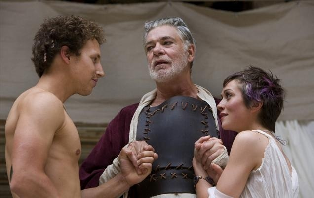 A happier moment: Troilus (Paul Stocker), Pandarus (Matthew Kelly) and Cressida (Laura Pyper).  Photo by John Tramper