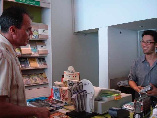 Local author Jake Arnott popped in to buy a book from owner Peter Ho