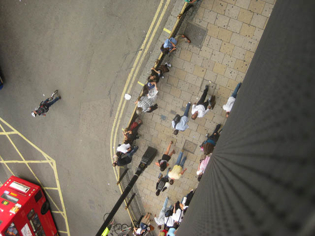 A pigeon's eye view of the pavement.