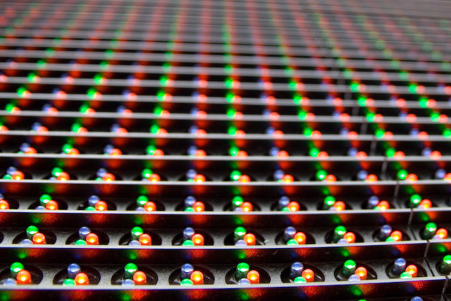 LED displays tend not to work too well up close...