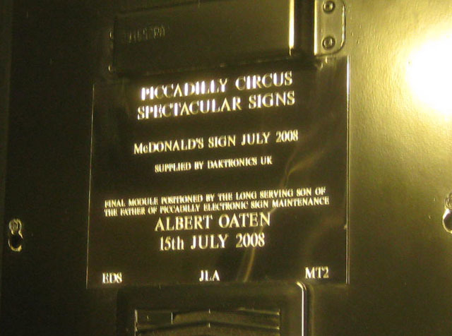 One of the sign modules carries a plaque to Albert Oaten, a bit of a celeb in the world of electronic signs.