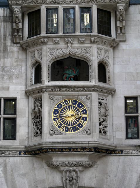 The lovely gilded clock over Kingly Street entrance of Liberty's, W1