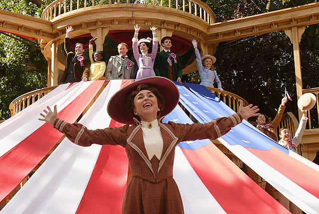 Samantha Spiro takes centre stage as Dolly Levi in the Open Air Theatre's latest musical. Photo by Catherine Ashmore
