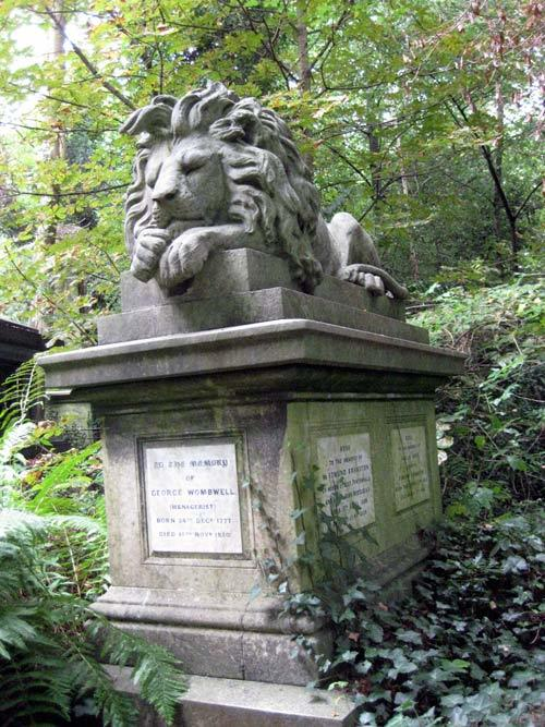 Sleeping lion tomb of George Wombwell, menagerist. Nearly as grand as the Bostock lion in Abney Park.