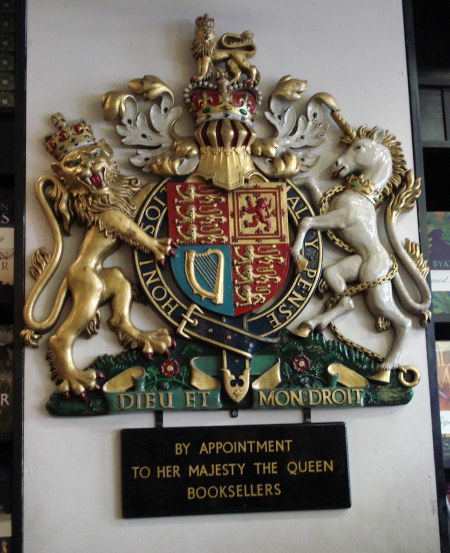 Her Maj's Royal Warrant. This thing's huge on the wall