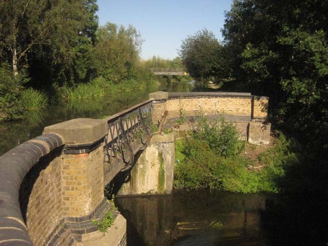 An unusual sight, where the Slough Arm is carried over the Frays River by viaduct.