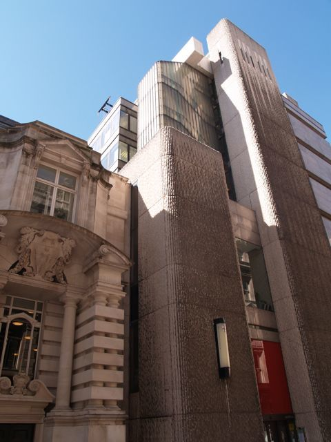 The Institute of Chartered Accountants, extension by Sir William Whitfield completed 1970. Both the 'old' section to the left and the brutalist section to the right are part of the same extension and built at the same time Jamesu
