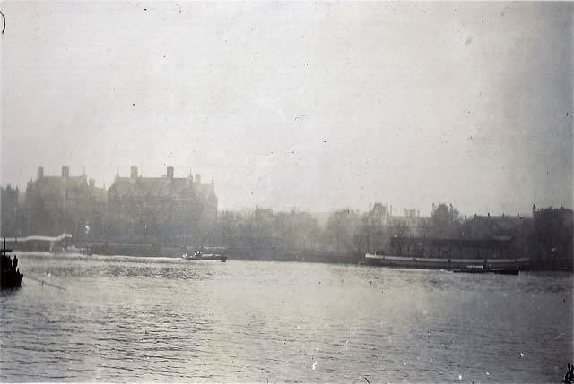 North bank of the Thames, just right of the Palace of Westminster