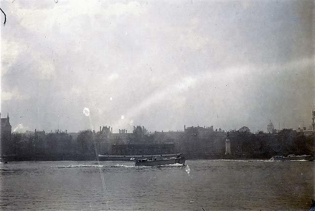 North bank of the Thames with the RAF Memorial (erected in 1923)