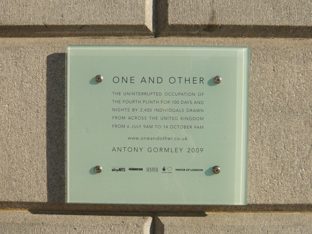 One and Other plaque on base of plinth. Photo by W P Wiles