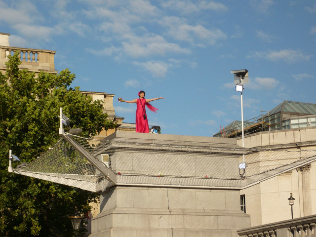 Bright pink bride again, on the fourth plinth for One and Other, 8.00am, Sunday 23 August 2009. Photo by W P Wiles