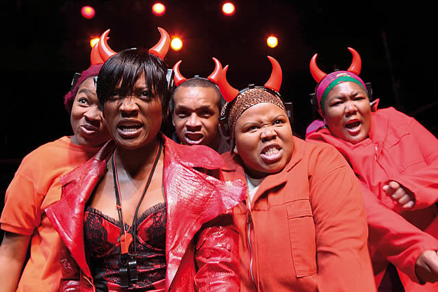 Noluthando Boqwana (Lucifer) with Busisiwe Ngejane, Luvo Rasemeni, Noluthando Domza Sishuba, Thozamo Mdliva as Demons.  Photo by Ruphin Coudyzer FPPSA