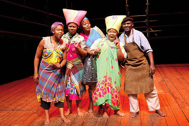 L-R The Midwives (Lungelwa Mdekazi, Zolina Ngejane, Unathi Habe, Noluthando Domza Sishuba) and Xolani Momo (Joseph).  Photo by Ruphin Coudyzer FPPSA