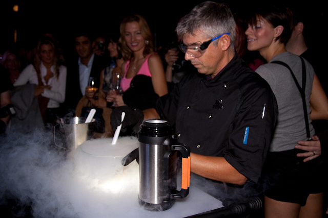 "Gelato master Roberto Lobrano prepares God Save The Cream, a ""reverse flambe served at -196 degrees"""