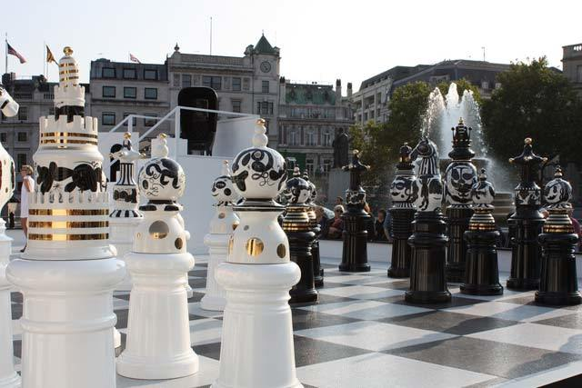 Giant chess board in Trafalgar Square